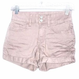 SO FAVORITE MIDI PINK DOUBLE BUTTON JEAN SHORTS